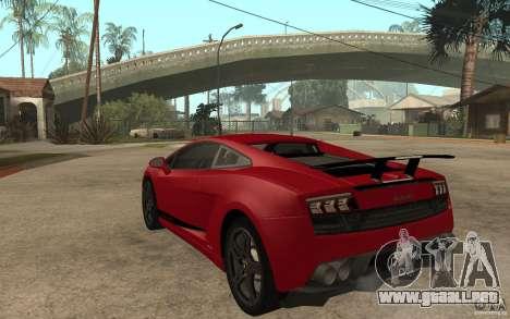 Lamborghini Gallardo LP 570 4 Superleggera para GTA San Andreas vista posterior izquierda