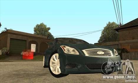 Infiniti G37 Coupe Sport para vista lateral GTA San Andreas