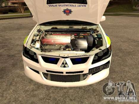 Mitsubishi Lancer EVO 8 Uk Policecar para la visión correcta GTA San Andreas