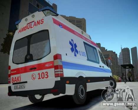 Mercedes-Benz Sprinter Azerbaijan Ambulance v0.2 para GTA 4 left
