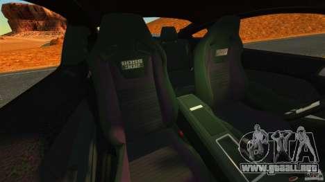 Ford Mustang Boss 302 2013 para GTA 4 vista interior