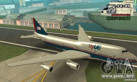 GTA 4 aeronaves Boeing 747 para GTA San Andreas vista hacia atrás