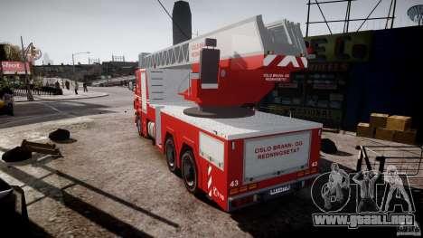 Scania Fire Ladder v1.1 Emerglights red [ELS] para GTA 4 Vista posterior izquierda