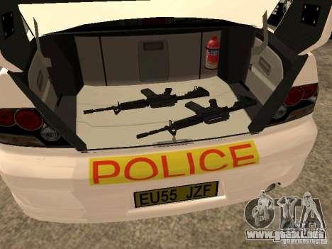 Mitsubishi Lancer EVO 8 Uk Policecar para GTA San Andreas vista hacia atrás