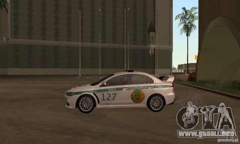 Mitsubishi Lancer Evolution X policía de Kazajis para GTA San Andreas vista posterior izquierda