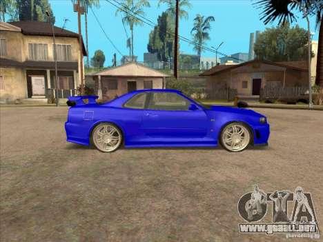 Nissan Skyline GT-R R34 from FnF 4 v.2.0 para GTA San Andreas vista posterior izquierda