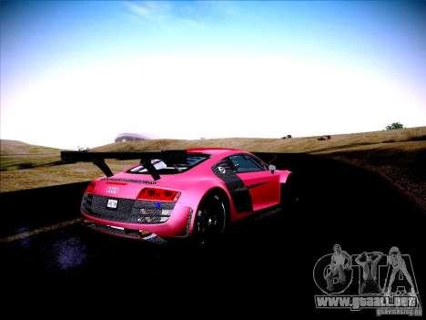 Audi R8 LMS v2.0 para GTA San Andreas vista hacia atrás