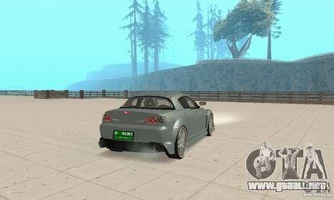 Mazda RX-8 Tuning para GTA San Andreas vista posterior izquierda