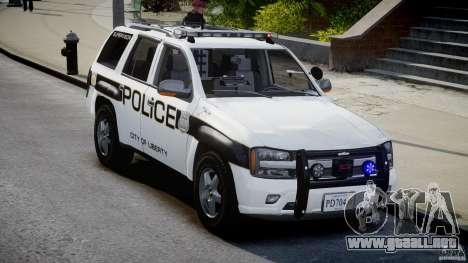 Chevrolet Trailblazer Police V1.5PD [ELS] para GTA 4 vista hacia atrás