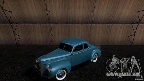 Ford Deluxe Coupe 1940 para GTA San Andreas vista hacia atrás