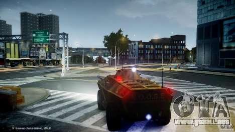 Camo APC para GTA 4 vista hacia atrás