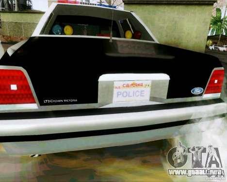 Ford Crown Victoria LTD 1991 SFPD para la visión correcta GTA San Andreas