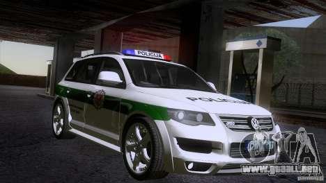 Volkswagen Touareg Policija para la visión correcta GTA San Andreas