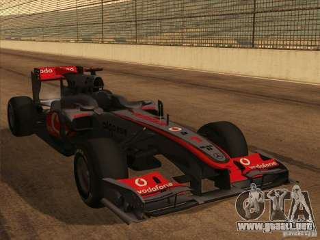 McLaren MP4-25 F1 para vista lateral GTA San Andreas
