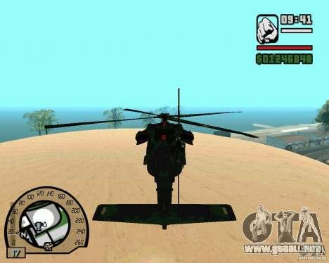 Blackhawk UH60 Heli para GTA San Andreas vista hacia atrás