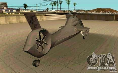 Sikorsky RAH-66 Comanche default grey para GTA San Andreas vista hacia atrás