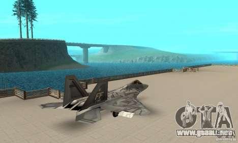 F-22 Starscream para GTA San Andreas vista posterior izquierda