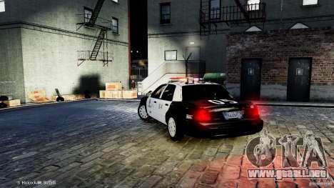 Ford Crown Victoria CVPI-K9 V6.9A-LAPD-ELS para GTA 4 Vista posterior izquierda