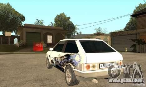 VAZ 2108 sintonizado para GTA San Andreas vista posterior izquierda