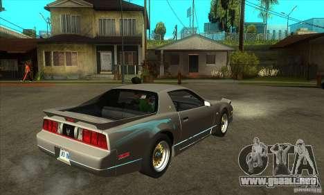 Pontiac Trans AM 1987 para la visión correcta GTA San Andreas