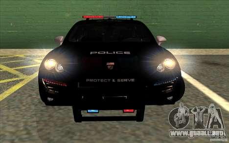 Porsche Cayenne Turbo 958 Seacrest Police para GTA San Andreas vista posterior izquierda