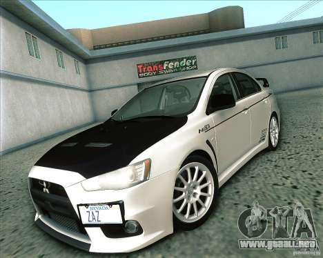Mitsubishi Lancer Evolution X 2008 para la visión correcta GTA San Andreas