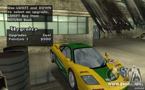 Mclaren F1 road version 1997 (v1.0.0) para GTA San Andreas vista hacia atrás