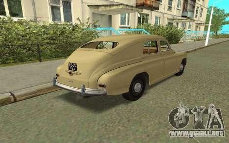 GAZ M20 Pobeda 1949 para GTA San Andreas vista posterior izquierda