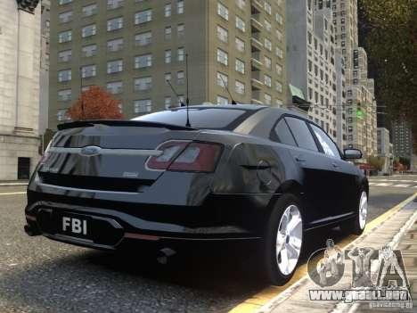 Ford Taurus FBI 2012 para GTA 4 vista hacia atrás