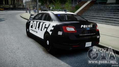 Ford Taurus Police Interceptor 2011 [ELS] para GTA 4 Vista posterior izquierda