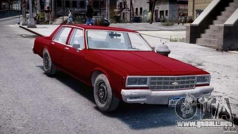 Chevrolet Impala 1983 v2.0 para GTA 4 vista hacia atrás