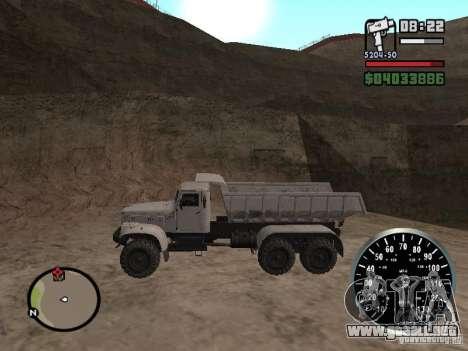 Camión KRAZ 225 para GTA San Andreas vista posterior izquierda