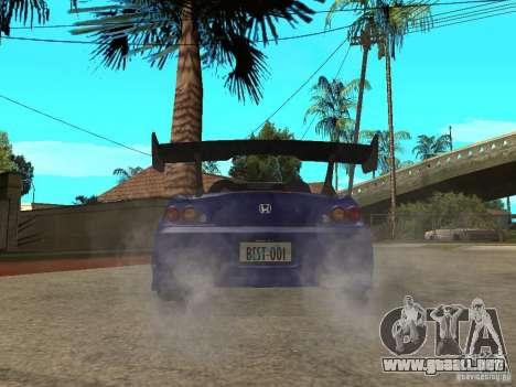 Honda S 2000 para GTA San Andreas vista posterior izquierda