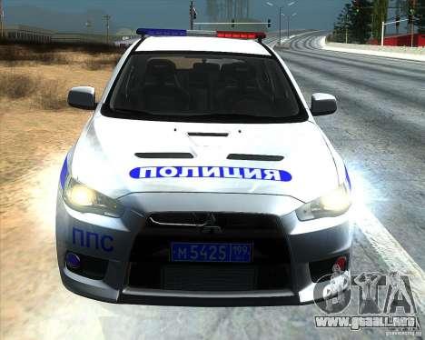 Mitsubishi Lancer Evolution X PPP policía para GTA San Andreas vista hacia atrás