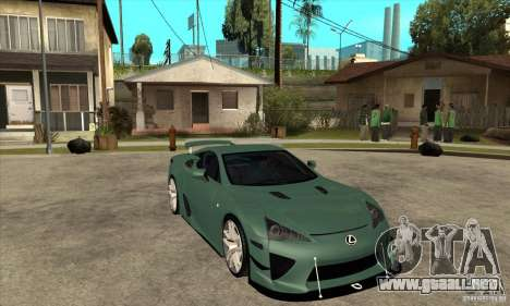 Lexus LFA 2010 para GTA San Andreas vista hacia atrás