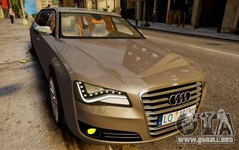 Limusina Audi A8 para GTA 4 Vista posterior izquierda