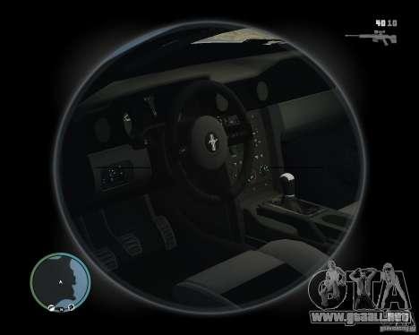 Ford Mustang GT 2005 v1.2 para GTA 4 vista hacia atrás