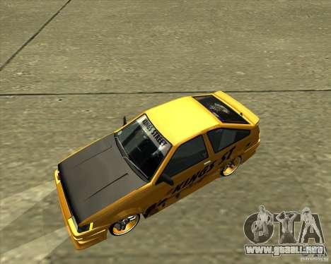 Toyota AE86 Levin para la vista superior GTA San Andreas