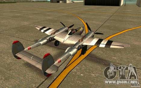 P38 Lightning para GTA San Andreas vista posterior izquierda
