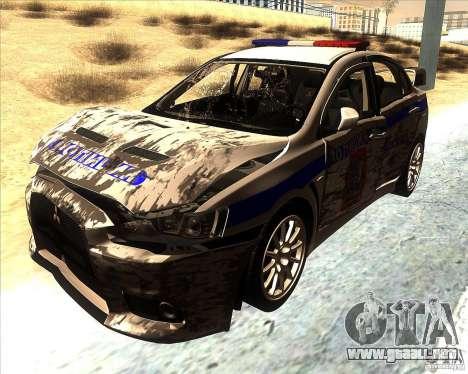 Mitsubishi Lancer Evolution X PPP policía para la vista superior GTA San Andreas