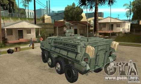 Stryker para GTA San Andreas vista posterior izquierda