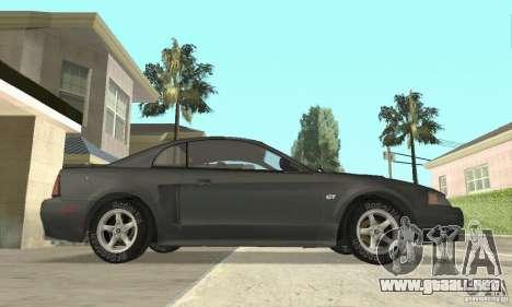 Ford Mustang GT 1999 (3.8 L 190 hp V6) para GTA San Andreas vista posterior izquierda