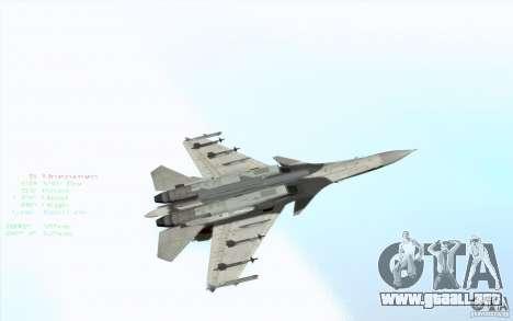 El Su-37 Terminator para vista lateral GTA San Andreas
