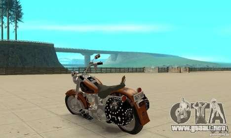 Harley Davidson FLSTF (Fat Boy) v2.0 Skin 2 para GTA San Andreas vista posterior izquierda