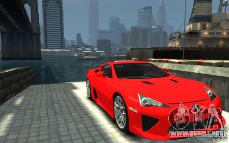 Lexus LFA v1.0 para GTA 4 vista hacia atrás
