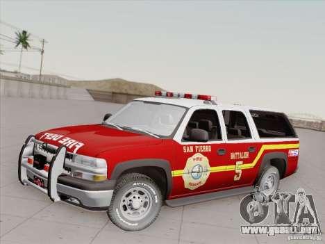 Chevrolet Suburban SFFD para vista inferior GTA San Andreas