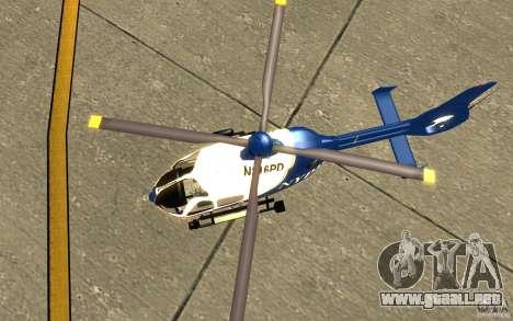 Eurocopter NYPD por SgtMartin_Riggs para GTA San Andreas vista hacia atrás