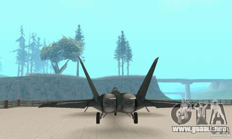 Y-f22 Lightning para GTA San Andreas vista hacia atrás