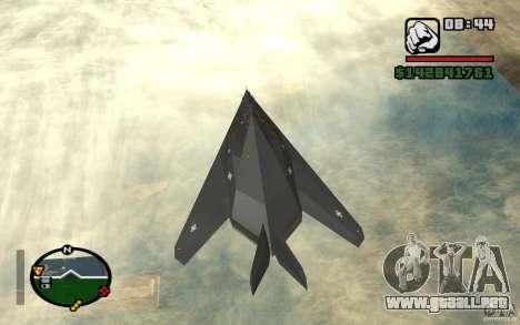 Lockheed F-117A Nighthawk para GTA San Andreas vista posterior izquierda