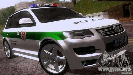 Volkswagen Touareg Policija para la vista superior GTA San Andreas
